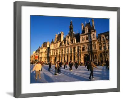 Ice-Skating in Front of Paris Hotel De Ville (City Hall), Paris, France-Martin Moos-Framed Photographic Print