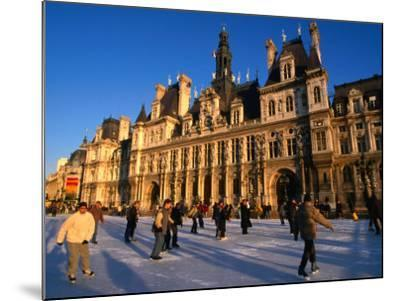 Ice-Skating in Front of Paris Hotel De Ville (City Hall), Paris, France-Martin Moos-Mounted Photographic Print