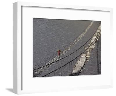 A Hunzukut Woman Crosses a Footbridge over the Hunza River, Constructed of Tied Juniper Branches-Jonathan Blair-Framed Photographic Print