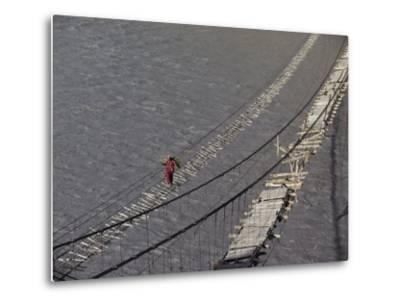 A Hunzukut Woman Crosses a Footbridge over the Hunza River, Constructed of Tied Juniper Branches-Jonathan Blair-Metal Print