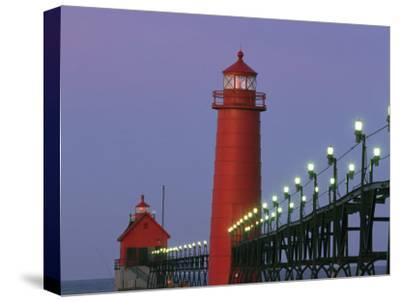 A View of the Grand Haven Lighthouse at Dawn-Ira Block-Stretched Canvas Print