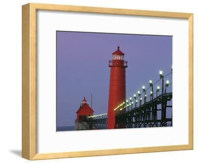 A View of the Grand Haven Lighthouse at Dawn-Ira Block-Framed Photographic Print