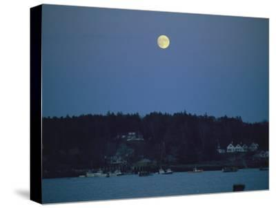 Moonrise over the Coastline of Friendship, Maine-Nick Caloyianis-Stretched Canvas Print