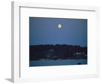 Moonrise over the Coastline of Friendship, Maine-Nick Caloyianis-Framed Photographic Print