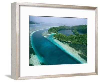 Aerial View of Islands in the Republic of Palau-Tim Laman-Framed Photographic Print