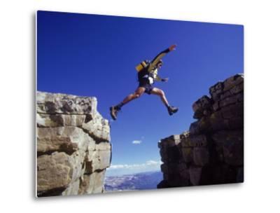 Hiker Jumping, High Uintas, UT-Cheyenne Rouse-Metal Print