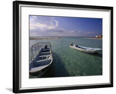 Boats, Playa Norte, Isla Mujeres, Mexico-Walter Bibikow-Framed Photographic Print