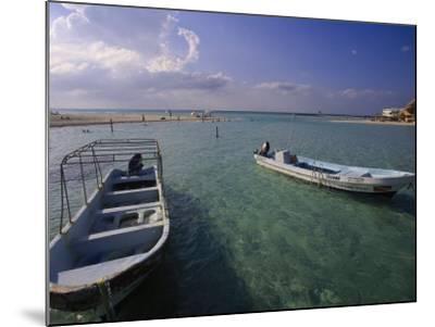 Boats, Playa Norte, Isla Mujeres, Mexico-Walter Bibikow-Mounted Photographic Print