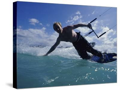 Man Kitesurfing on the Surface of Water--Stretched Canvas Print