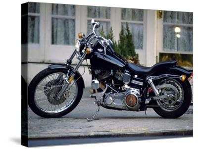Black Motorcycle--Stretched Canvas Print