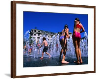 Children Playing in Piccadilly Gardens Waterjets, Manchester, England-Mark Daffey-Framed Photographic Print