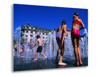 Children Playing in Piccadilly Gardens Waterjets, Manchester, England-Mark Daffey-Metal Print