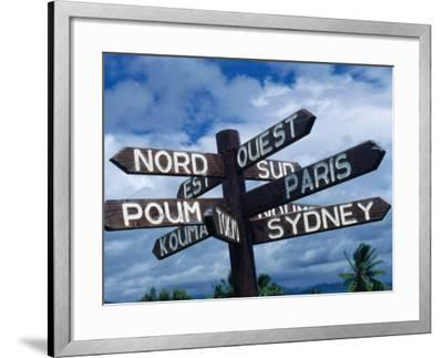 Sign Showing Directions to Other Cities in World, Koumac, New Caledonia-Jean-Bernard Carillet-Framed Photographic Print