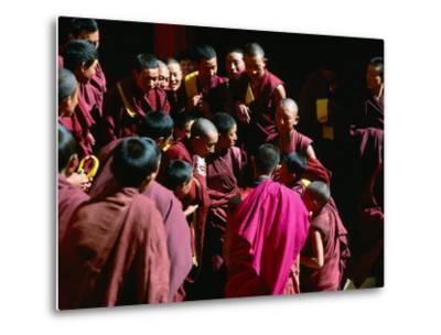 Monks Gathered in Courtyard of Historic Ganden Monastery, Ganden, Tibet-Richard I'Anson-Metal Print