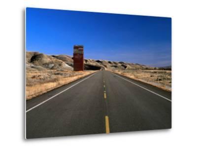 Highway and Abandoned Grain Elevator in Ghost Town of Dorothy, Alberta, Canada-Barnett Ross-Metal Print