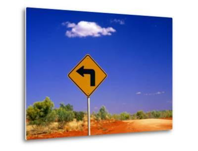 Road Sign Pointing to Rainbow Valley Road, Rainbow Valley Conservation Reserve, Australia-John Banagan-Metal Print