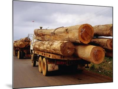 Logging Trucks on Road, Bolaven Plateau, Laos-Woods Wheatcroft-Mounted Photographic Print