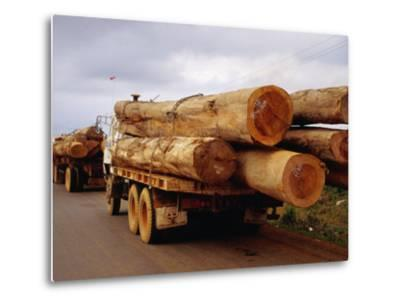 Logging Trucks on Road, Bolaven Plateau, Laos-Woods Wheatcroft-Metal Print