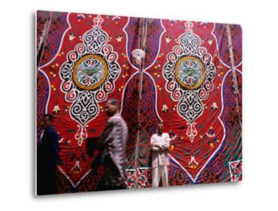 Men Outside Tents in Souq Area of Islamic, Cairo, Egypt-Phil Weymouth-Metal Print