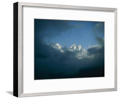 Mount Everest (Left) and Mount Lhotse (Right) Almost Obscured by Clouds-Michael Klesius-Framed Photographic Print
