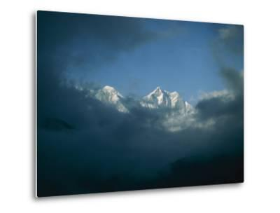 Mount Everest (Left) and Mount Lhotse (Right) Almost Obscured by Clouds-Michael Klesius-Metal Print