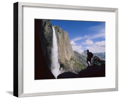 Hiker Viewing Yosemite Falls-Bill Hatcher-Framed Photographic Print