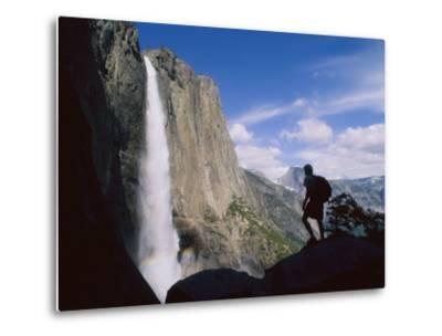 Hiker Viewing Yosemite Falls-Bill Hatcher-Metal Print