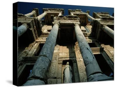 Ruined Facade of the Library of Celsus in Ephesus-James L^ Stanfield-Stretched Canvas Print