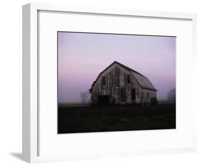 Pink Dawn Mist Around a Weather-Beaten Barn-Stephen St^ John-Framed Photographic Print
