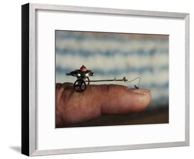 A Flea Pulls a Small Cart Along an Outstretched Finger-Nicole Duplaix-Framed Photographic Print