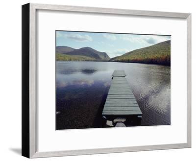 A Scenic View of a Dock on a Lake-Bill Curtsinger-Framed Photographic Print