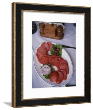 Sliced Roma Tomatoes Fill a Plate at Samis Restaurant in Rhodes-Tino Soriano-Framed Photographic Print