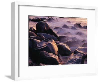 Sunlit Rocks in Surf and Spray, Jasmund National Park, Germany-Norbert Rosing-Framed Photographic Print