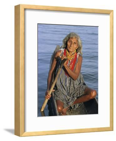 A Warao Indian in a Canoe-Ed George-Framed Photographic Print