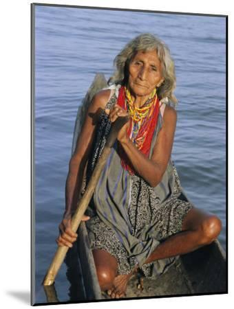 A Warao Indian in a Canoe-Ed George-Mounted Photographic Print