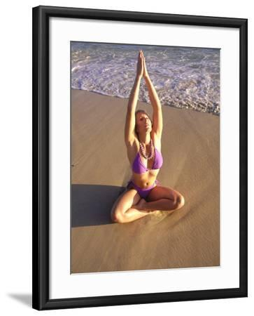 Woman Meditating on Beach-Tomas del Amo-Framed Photographic Print