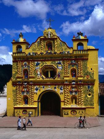 The 16th Century Decorated Church of San Andres Xecul, Totonicapan, Guatemala-Greg Johnston-Framed Photographic Print