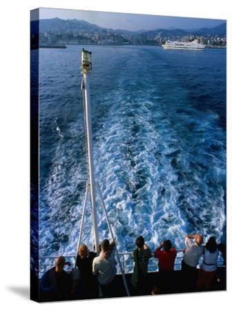 Passengers on Deck of Ferry Travelling from Sardinia to Genova, Sardinia, Italy-Dallas Stribley-Stretched Canvas Print