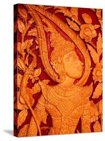 Carved Wooden Temple Doors at Pha That Luang, Vientiane, Vientiane Prefecture, Laos-John Banagan-Stretched Canvas Print
