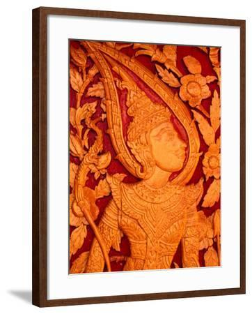 Carved Wooden Temple Doors at Pha That Luang, Vientiane, Vientiane Prefecture, Laos-John Banagan-Framed Photographic Print