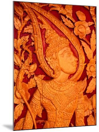 Carved Wooden Temple Doors at Pha That Luang, Vientiane, Vientiane Prefecture, Laos-John Banagan-Mounted Photographic Print