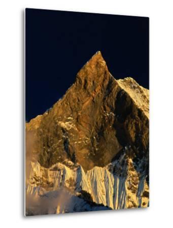 Machhapuchhare's West Face Glowing in the Sunset,Gandaki, Nepal-Anders Blomqvist-Metal Print