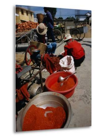 Women from Small Patou Island Grind Chilies to Powder, Dali, Yunnan, China-Diana Mayfield-Metal Print