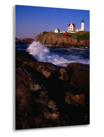 Surf Crashing on York Beach with Nubble Lighthouse in Background, Cape Neddick, USA-Levesque Kevin-Metal Print