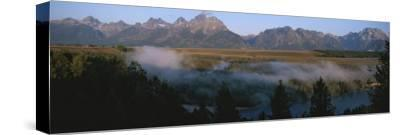 Snake River and the Tetons at Sunrise-Michael S^ Lewis-Stretched Canvas Print