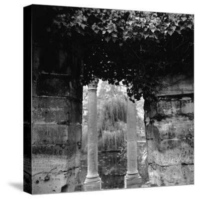 Columns and Pond with Tree, Paris, France-Ellen Kamp-Stretched Canvas Print