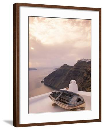 Boat at Sunset, Santorini, Greece-Walter Bibikow-Framed Photographic Print