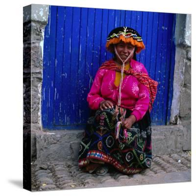 Portrait of Local Woman in Colourful Clothes, Pisac, Peru-Wes Walker-Stretched Canvas Print