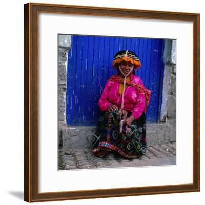 Portrait of Local Woman in Colourful Clothes, Pisac, Peru-Wes Walker-Framed Photographic Print