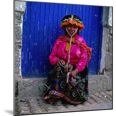 Portrait of Local Woman in Colourful Clothes, Pisac, Peru-Wes Walker-Mounted Photographic Print